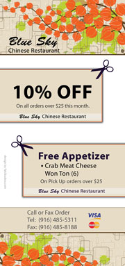 Coupon, Discount, Promotion from Blue Sky Chinese Restaurant - Carmichael